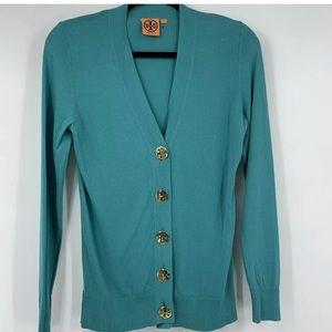Tory Burch cardigan green v neck tight knit